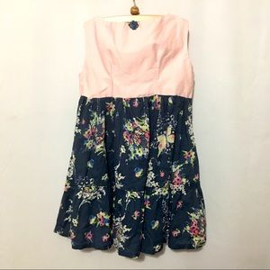 Pink and navy floral dress